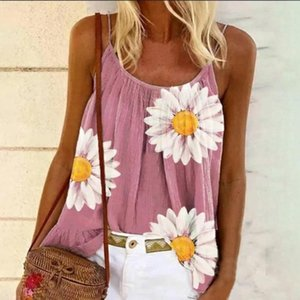 2020 Sexy Women Summer Casual Blouses Shirts Vest Floral Print Tops Vest Camis Blouses Sleeveless V-neck Femme Shirts