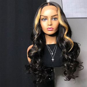 PrePlucked Two Tone Ombre Highlight Lace Front Wigs 100% Malaysian Virgin Human Hair Wavy Full Lace Wig