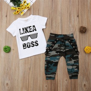 kids clothing fashion boy 2020 Hip Hop Short Sleeve Summer Toddler Infant Like A Boss Letter Tops T-shirt Camo Pants Outfits 2Pcs sets
