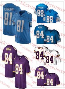 NCAA Mens royal blanc # 81 # 88 Calvi Johnson Charlie Sanders # 84 Herman Moor Vintage Football Jersey Cousu # 84 Randy Moss Jersey S-3XL