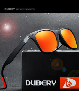 con paquetes DUBERY Gafas de sol vintage Polarizadas Gafas de sol para hombre Tonos cuadrados Conducción Negro Oculos Masculino 8 colores Modelo 4195