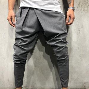 Hommes Long Casual Casual Pants irréguliers Gym Pantalon Slim Nouveau Solide Running Joggers Gym Cordon Cordons Ceintures Pantalons de survêtement