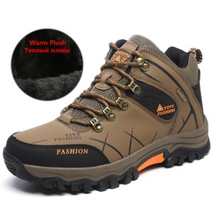 High Quality New Men Winter Snow Boots Fur Warm Men's Boots Waterproof Sneakers Outdoor Male Hiking Boots Work Shoes Size 39-47