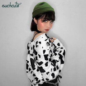 SUCHCUTE Femme Veste vache Imprimer Manteaux Pour les femmes Style coréen Modis Longslive Casual Automne 2019 Bouton Harajuku manteau Streetwear