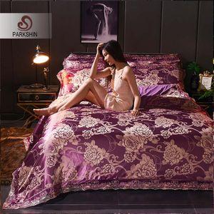 ParkShin Cotton Flat Sheet Jacquard Duvet Cover Bedding Set Euro  Bedspread Tencel Silk Bed Linen Set Decor Home Textiles
