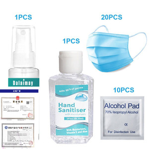 Disposable Hand Sanitizer gel 60ml + Hand Sanitizer 30ml + Masks + Alcohol swab Antibacterial set Multifunctional travel pack is portable