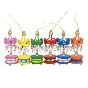 Christmas Decorations Carousel Decorations Christmas Tree Wood Decoration Pendant 6Pcs A Box Of Decorations
