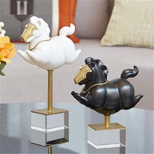 Statue nordique moderne et luxueux Mignon Swift Cheval Accueil Salon Animal Décoration miniature Figurines Accessoires M5533