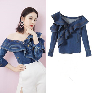 Ruffle Denim Shirt Women Tops Female Long Sleeve Off Shoulder Sexy women blouses Fashion Clothes 2019 Autumn New w333