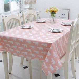 Withme ours polaire échantillon Nappe Cartoon bleu polyester coton Table couverture Imprimer nappe Table basse pour le tissu Accueil