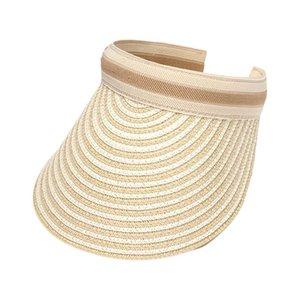 Korean Style Women Ladies Weave Straw Empty Top Sun Visor Hat Clip-On Contrast Color Striped Wide Brim Anti-UV Outdoor Beach Cap