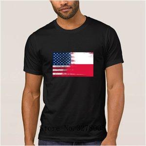 Polish American Half Poland Half America Flag Fun Men T Shirt Summer Style Men's T-Shirt Clothes Round Collar Tshirt Large
