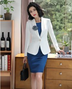 Bayanlar Çalışma Wear için Korsaj ve Belt ile Ceketler Ve Elbise İlkbahar Sonbahar Profesyonel Blazers ile Biçimsel Kadınlar İş Takımları