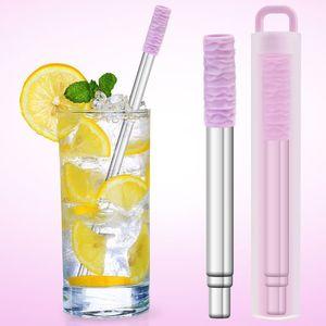 hot Portable stainless steel telescopic straw straight tube creative 304 stainless steel milk tea metal telescopic straw set