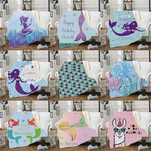 150 * 130 Cm Manta de la serie Mermaid Child Doble cubierta Mantas Bardianas Impresas Preciosas Invierno Popular Exquisito Nuevo Patrón 45qlc J1