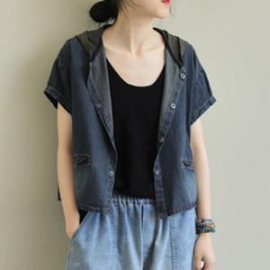 Women Simple Casual Denim Vest Short Sleeve Jackets Pockets Single-Breasted Tops Dark Blue Japan Style Girls Basic Vest