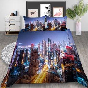 ciudad moderna Tamaño mayor de la cubierta del Duvet Set rey Twin Queen con un paisaje precioso estilo sencillo lecho de la cubierta de ropa de cama Traje