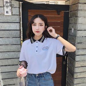 Harajuku Polo Shirt Female Korean Cute Japanese Letter Printing Vintage Bf Loose Short Sleeved T Shirt Womens Fashion Shirt