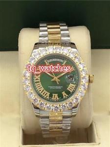 Los mejores relojes para hombres Boutique de lujo Juego de clavijas de diamantes Relojes de esfera verde Reloj automático de doble calendario de acero inoxidable