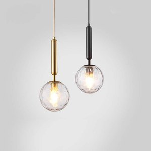 Nordic Bola de vidro do metal criativa luminária Home Hotel Villa cabeceira quarto Decor Chandelier luz de teto PA0653