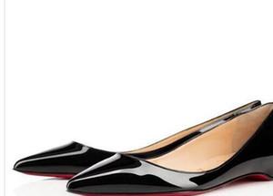 Designer-Partei-Kleid-rote Unterseite Sexy Pantent Leder Ballett Sexy Spitzschuh flache bequeme Frauen Beleg auf beiläufige Schuh-Größe 34-42