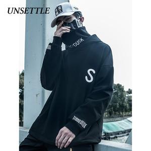 Tedirgin Turtleneck Fleece Kazak Erkekler japon Kapüşonlular Streetwear Sweatshirt Hip Hop Harajuku Erkek Yüksek boyun Y200704 Tops büyük seçmek
