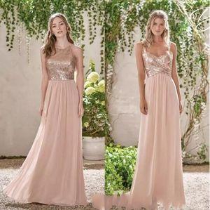 2019 блестящее розовое золото с блестками платье-линии невесты дешевые спагетти шифон свадебное платье для гостей длинное вечернее платье выпускного вечера
