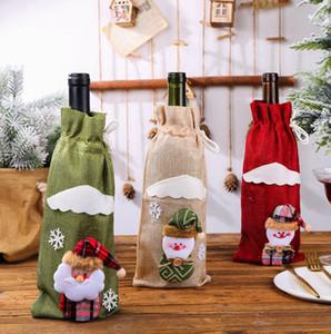 Creative Cartoon rouge Bouteille de vin couverture Sacs Décoration Accueil Fête Père Noël emballage de Noël Joyeux Noël cadeau Décoration de Noël
