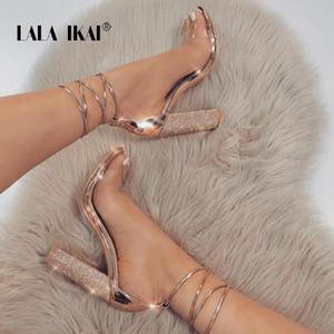 LALA IKAI Women Heeled Sandals Bandage Rhinestone Ankle Strap Pumps Super High Heels 11 CM Square Heels Lady Shoes 014C1931 -4 CJ191220