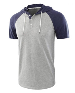 Hommes T-shirts d'été à manches courtes hommes Hauts de style européen Mode Hommes O Neck Splice Couleur Tops Designer
