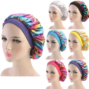 Estrenar 2019 de raso noche Fshion de las mujeres del capo de pelo Sleep Cap sombrero de seda cubierta de la cabeza ancha Banda elástica ajustable Accesorio para el pelo