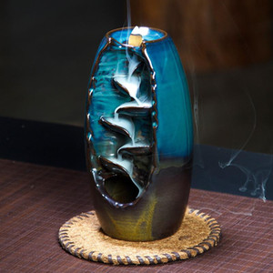 Backflow Incense Burner Ceramic Aromatherapy Furnace Aromatic Home Office Buda Decorativo Incense Road Tower Cone Holder