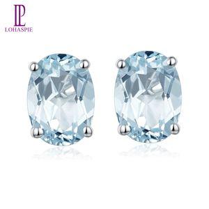 1.341ct brincos Natural Aquamarine Oval 7x5mm Sólido 925 Sterling Silver Gemstone Belas Fashion Women menina jóias de Lady Atacado