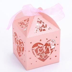 50шт Love Heart Упаковочная коробка конфет Laser Cut Wedding Драже Box ответный подарок Коробки для гостей