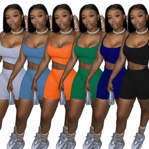 women summer clothes 2 two piece tracksuits solid sleeveless vest crop top biker shorts outfits sets casual suits plus size clothing