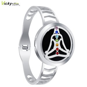 Chakra Diffuser Locket  Spring Bangle Essential Oil Stainless Steel Diffuser Perfume Locket Bracelets Drop Shipping