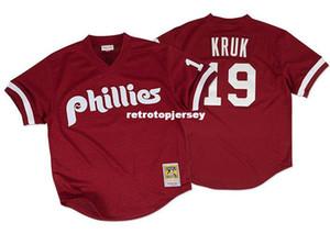 Дешевые Mitchell Ness Philadelphia John Kruk # 19 Mesh Джерси Throwbacks Мужские сшитые майки для бейсбола