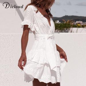 Белый вышивки хлопка платья лета женщин с коротким рукавом Повседневная Пляж Sundress Sexy V шеи выдалбливают Мини платье Drop Доставка