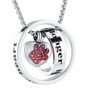 JJ001 No Longer By My Side ,Forever In My Heart Stainless Steel Cremation Urn Necklace For Ashes For Pet Memorial Jewelry
