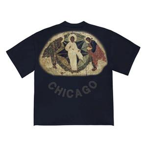20SS İSA IS KING Tee Üç Tanrılar Dini Yağlıboya Resim Tişört Vintage Kısa Kollu Yaz Sokak Erkekler Kadınlar tişört HFYMTX640