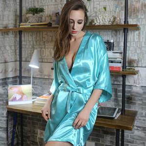 SIMISI seda Robes por Mulheres Faux Silk Sólidos Trimestre Cor Nightgown Três Sexy Banho Verão seção fina casa fresca roupa