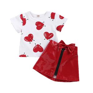 Le ragazze scherza i pannelli esterni dei vestiti San Valentino Cuore T-shirt stampata Bambino Pullover bambini abiti firmati bambine Bow Zipper casual Gonne 6M-5T 06