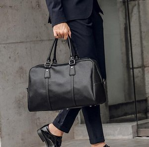 New Releasebrand men handbag high-quality leather bags fashion lychee leather business bag large-capacity short-distance travel fitness bag