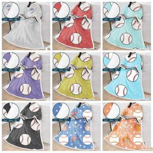 البيسبول البيسبول البطانيات كسول بطانية مع الأكمام الدافئة في فصل الشتاء رداء العباءة رمي السرير التفاف سوبر لينة النوم 18colors غطاء LXL812Q