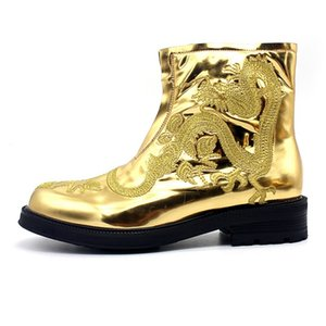 Ankle Boots Men Gold Embroidered Dragon Runway Zipper Round Toe Genuine Leather Boots Party Dress Shoes Height Increasing Botas