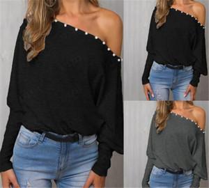 Kadınlar Tasarımcı Uzun Kollu Tişört Boyun Dolman Kol Bayan İnci Wothing Giyim Katı Renk Tops Slash