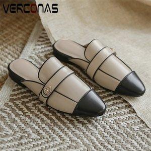 VERCONAS 2020 корова кожа женщины насосы женщина сандалии свободного покроя металлические украшения острым носом квадратных каблуках/высокие каблуки