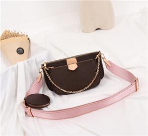 Фирменные сумки MULTI Pochette ACCESSOIRES 2019 новых женщин способа малого плеча мешок бренд цепь Crossbody сумка дизайнер роскошных сумки кошельки