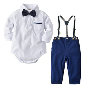 Langarm Baby Body 4pcs Set Polo-Kragen-Body + tie + Straps + pants Baby-Anzug Mode Gentry Baby-Sets