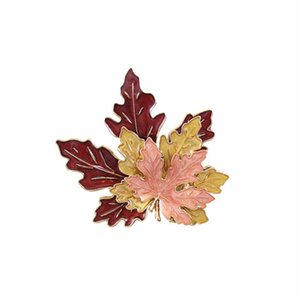 rooches Exaggerated drop glaze three-layer maple leaves brooch fine beauty accessories Personalized boutonniere Brooches Jewelry & Access...